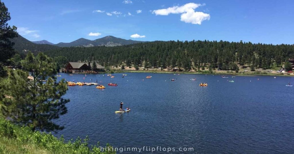 people spending a sunny day on Lake Evergreen is a favorite activity in Evergreen Colorado