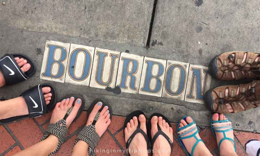 on Bourbon St in New Orleans on a day trip from Dauphin Island