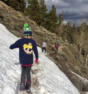 hiking the switchbacks on a mountain trail