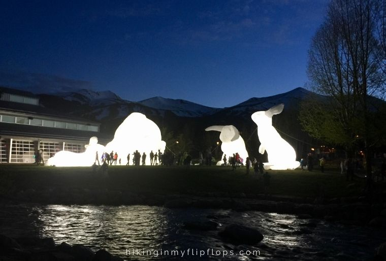 Giant bunnies glow at the annual festival in Breckenridge CO