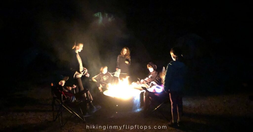 night time camping activities around the campfire