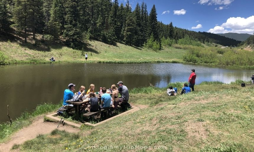 snack break by the lake on a day hike