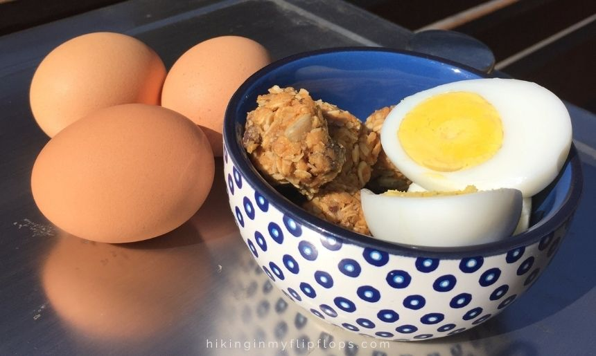 hard cooked eggs and energy bites make a delicious no cook breakfast for camping