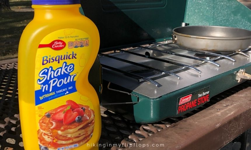 Bisquick Shake 'n Pour is a super easy option for a camping pancake mix