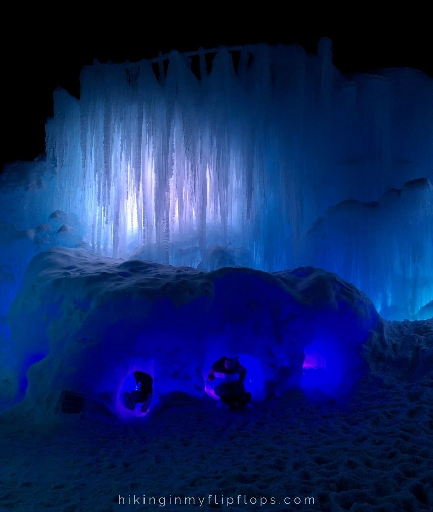 hand carved tunnels in the Ice Castles