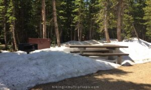 pawnee campground snow covered picnic table