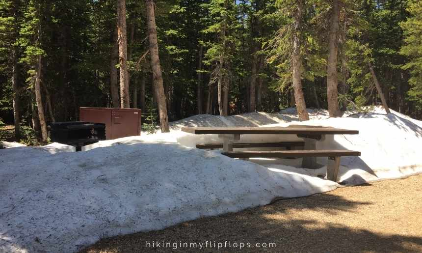 pawnee campground snow-covered picnic table