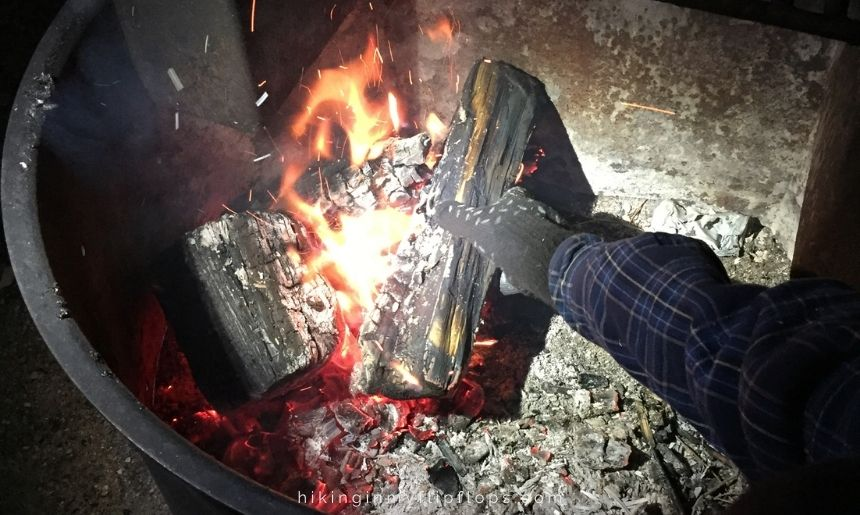 heat resistant gloves to manage the campfire is our favorite of all space saving camping ideas