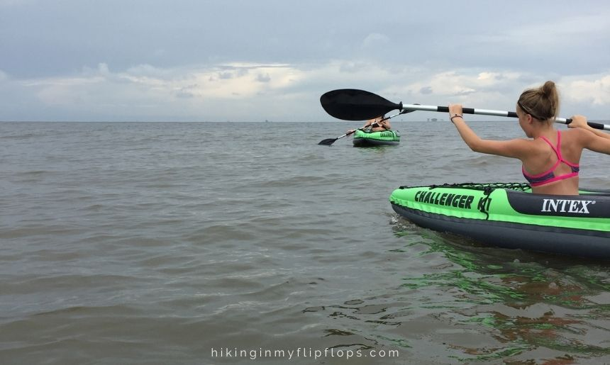 kayaking on the gulf waters is one of many things to do on Dauphin Island