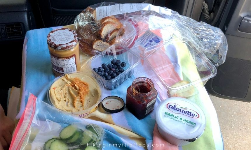 road trip lunch ideas includes making an assortment of snacks with leftovers from other road trip meals