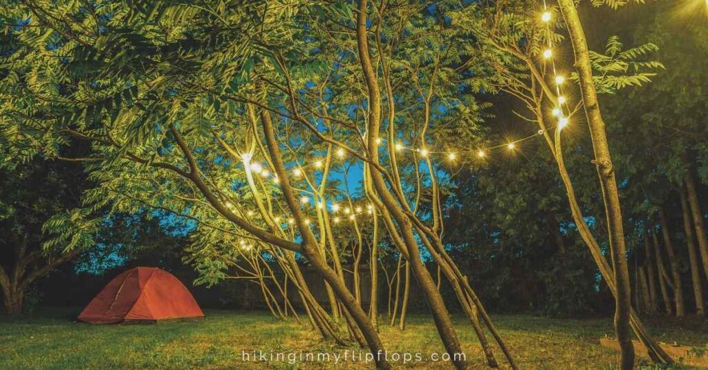 string lights are one of the more popular campsite lighting ideas